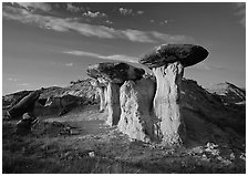 Caprock formations, late afternoon, Petrified Forest Plateau. Theodore Roosevelt National Park, North Dakota, USA. (black and white)