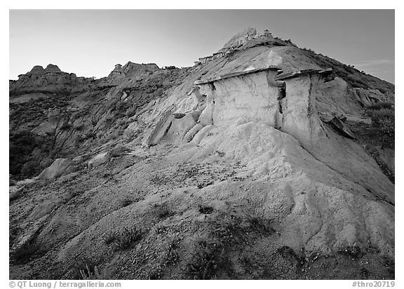 Badlands and caprock formation at sunset, South Unit. Theodore Roosevelt  National Park (black and white)