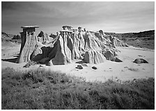 Mushroom pedestal formations, South Unit. Theodore Roosevelt National Park, North Dakota, USA. (black and white)