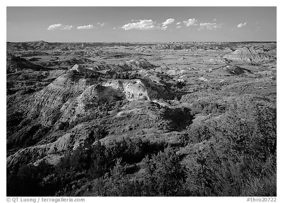 Painted Canyon, late afternoon. Theodore Roosevelt  National Park (black and white)