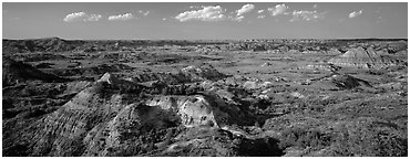 Rugged northern badlands landscape. Theodore Roosevelt National Park (Panoramic black and white)