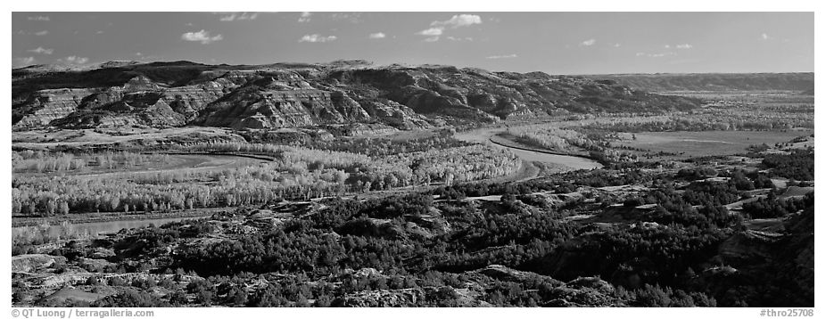 Wide valley with river and aspens in autumn color. Theodore Roosevelt National Park (black and white)