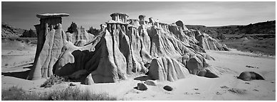 Erosion landscape with pedestal formation. Theodore Roosevelt National Park (Panoramic black and white)