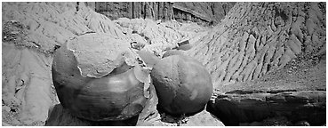 Large spherical concretions in badlands. Theodore Roosevelt National Park (Panoramic black and white)