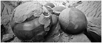 Large cannon ball rocks. Theodore Roosevelt National Park (Panoramic black and white)