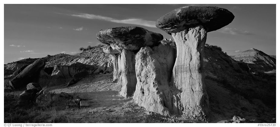 Caprock formations. Theodore Roosevelt National Park (black and white)