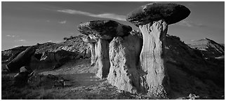 Caprock formations. Theodore Roosevelt National Park (Panoramic black and white)