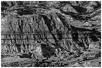 Badlands, Painted Canyon. Theodore Roosevelt National Park, North Dakota, USA. (black and white)
