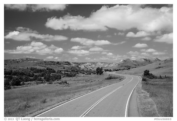 Scenic loop road, South Unit. Theodore Roosevelt National Park (black and white)