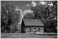 Roosevelt Maltese Cross cabin. Theodore Roosevelt National Park, North Dakota, USA. (black and white)