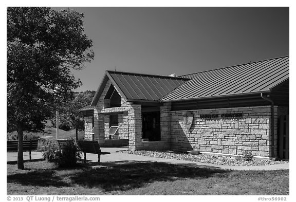 North Unit Visitor Center. Theodore Roosevelt National Park (black and white)