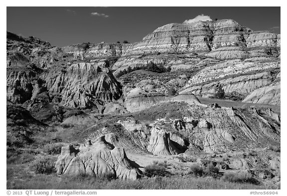 Multicolored layered badlands landscape, North Unit. Theodore Roosevelt National Park (black and white)
