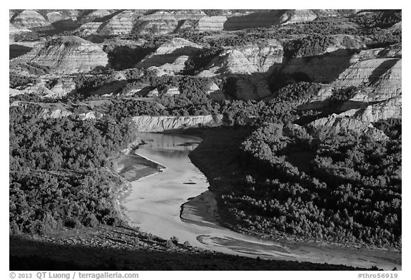 Little Missouri river bend and badlands in summer. Theodore Roosevelt National Park (black and white)