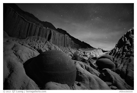 Cannonball and badlands with night starry sky. Theodore Roosevelt National Park (black and white)