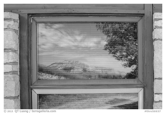 North Unit Visitor Center window reflexion. Theodore Roosevelt National Park (black and white)