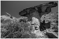 Anvil-shaped caprock. Theodore Roosevelt National Park, North Dakota, USA. (black and white)