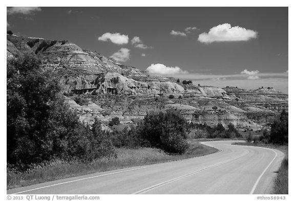 Scenic drive and colorful badlands, North Unit. Theodore Roosevelt National Park (black and white)