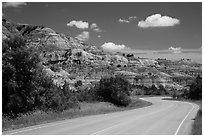 Scenic drive and colorful badlands, North Unit. Theodore Roosevelt National Park ( black and white)