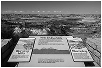 Interpretive sign, Painted Canyon. Theodore Roosevelt National Park ( black and white)