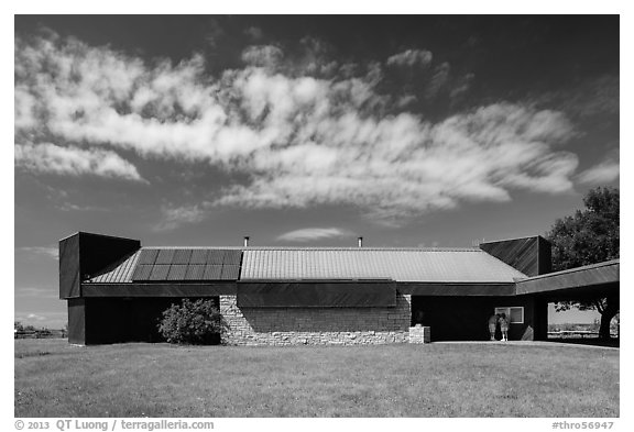 Painted Canyon Visitor Center. Theodore Roosevelt National Park (black and white)