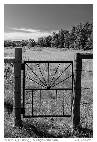 Entrance gate to Roosevelt Elkhorn Ranch site. Theodore Roosevelt National Park (black and white)
