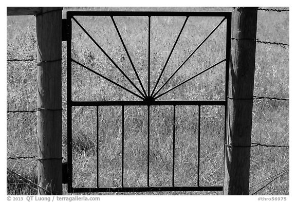 Detail of motif of gate to Elkhorn Ranch. Theodore Roosevelt National Park (black and white)