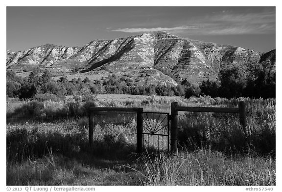 Fence around ranch house site, Elkhorn Ranch Unit. Theodore Roosevelt National Park (black and white)