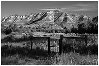 Fence around ranch house site, Elkhorn Ranch Unit. Theodore Roosevelt National Park ( black and white)