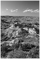 Painted Canyon, late afternoon. Theodore Roosevelt National Park ( black and white)