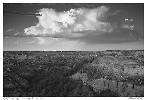 Storm cloud and badlands at sunset, South Unit. Theodore Roosevelt National Park (black and white)