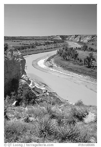 Little Missouri River. Theodore Roosevelt National Park (black and white)