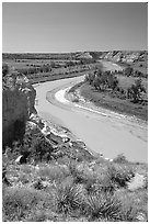 Little Missouri River. Theodore Roosevelt National Park, North Dakota, USA. (black and white)