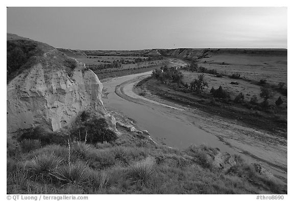 Wind Canyon and Little Missouri River, dusk. Theodore Roosevelt National Park (black and white)