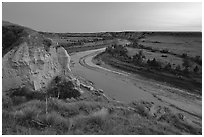 Wind Canyon and Little Missouri River, dusk. Theodore Roosevelt National Park, North Dakota, USA. (black and white)