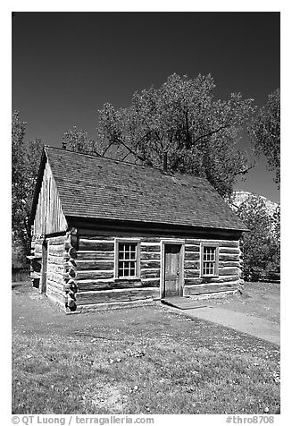 Roosevelt's Maltese Cross Cabin, afternoon. Theodore Roosevelt National Park (black and white)