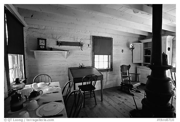 Dining room of Theodore Roosevelt's Maltese Cross Cabin. Theodore Roosevelt National Park (black and white)