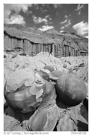 Cannon ball concretions and erosion formations. Theodore Roosevelt National Park (black and white)