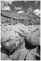 Cannon ball concretions and erosion formations. Theodore Roosevelt National Park, North Dakota, USA. (black and white)