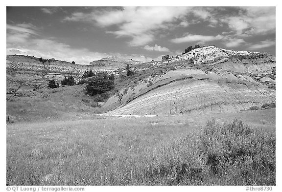 Slump blocks, North Unit. Theodore Roosevelt National Park (black and white)