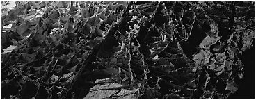 Boxworks underground formations. Wind Cave  National Park (Panoramic black and white)