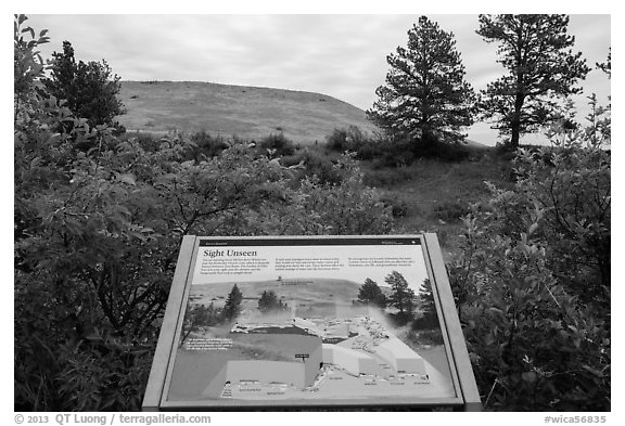 Interpretive sign, hills. Wind Cave National Park (black and white)