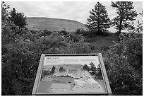 Interpretive sign, hills. Wind Cave National Park ( black and white)