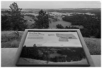 Rankin Ridge view interpretative sign. Wind Cave National Park, South Dakota, USA. (black and white)