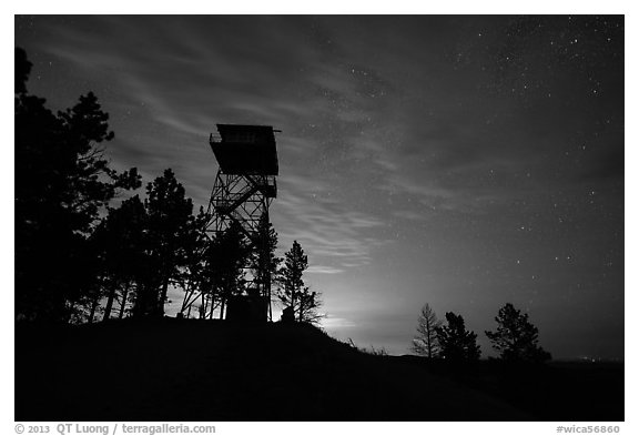 Lookout tower at dusk, Rankin Ridge. Wind Cave National Park (black and white)