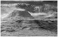 Geyser cone in Upper geyser basin. Yellowstone National Park, Wyoming, USA. (black and white)