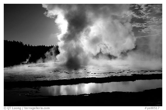 Great Fountain geyser eruption. Yellowstone National Park (black and white)