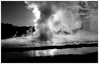 Great Fountain geyser eruption. Yellowstone National Park ( black and white)