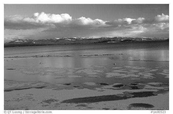 Ice on Yellowstone lake. Yellowstone National Park (black and white)