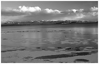 Ice on Yellowstone lake. Yellowstone National Park, Wyoming, USA. (black and white)