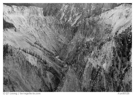 River gorge, Grand Canyon of Yellowstone. Yellowstone National Park (black and white)